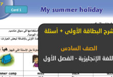 صورة بطاقات التعلم الذاتي اللغة الانجليزية الصف السادس البطاقة الاولى
